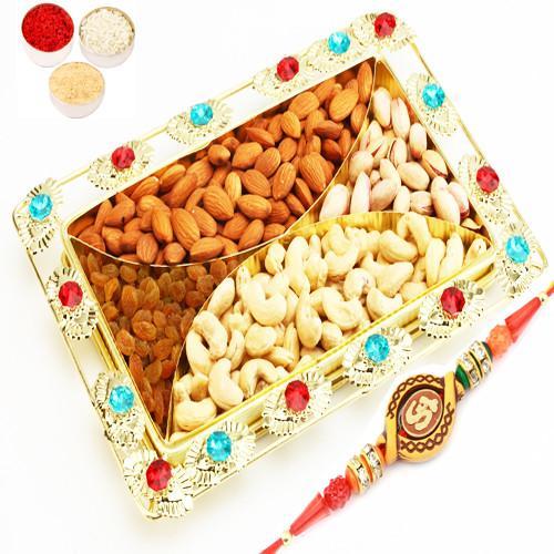 4 Part Coloured Beads Golden Tray of Cashew, Almonds, Raisins and Pistachios with Om Rakhi