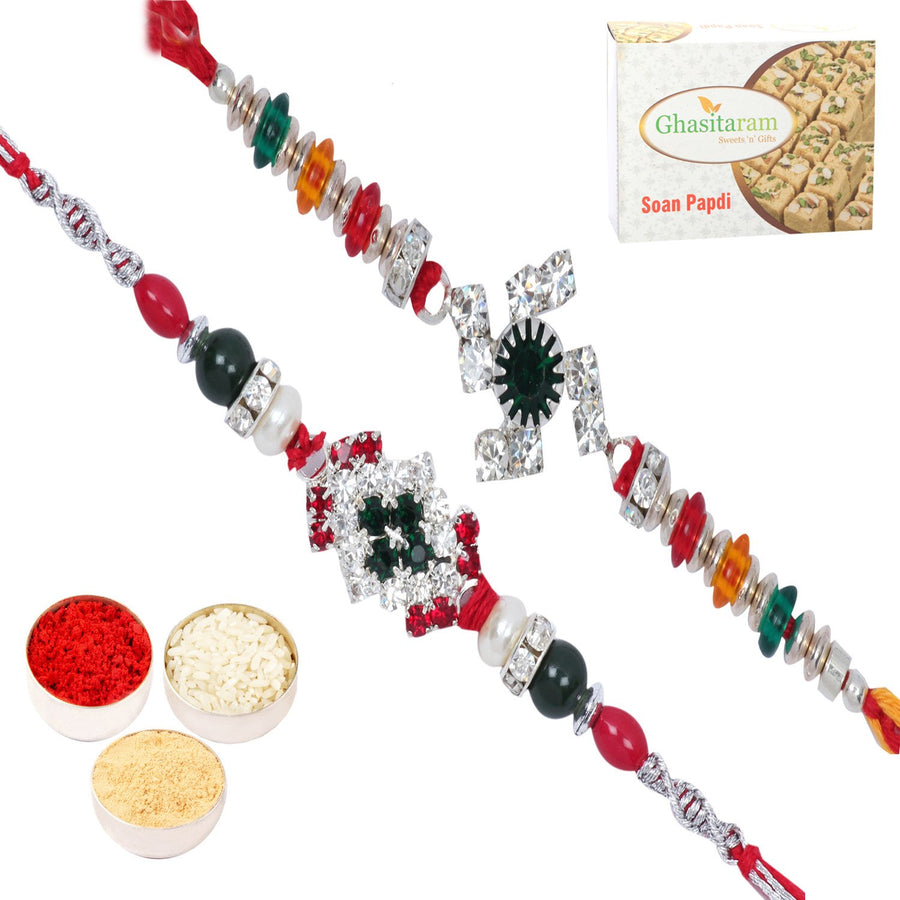 Rakhi Set  with 400 gms of Soan Papdi