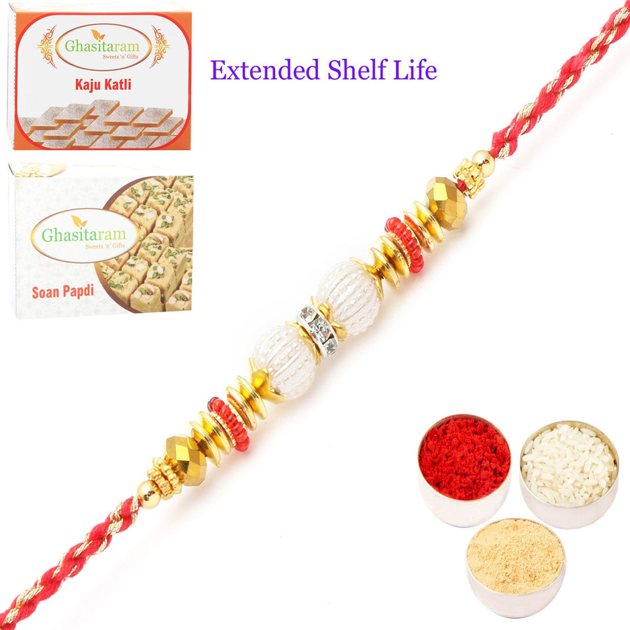 single Rakhi with 200 gms of Kaju katli and 200 gms of Soan Papdi