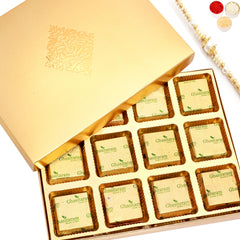 Rakhi Chocolates- Golden 12 pcs Roasted Almond Chocolate Box with Pearl Rakhi