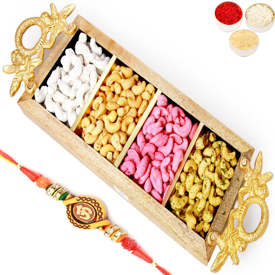 Rakhi Gifts For Brother Rakhi Dryfruits- Golden Handle Wooden  Assorted Cashews Tray with Om Rakhi