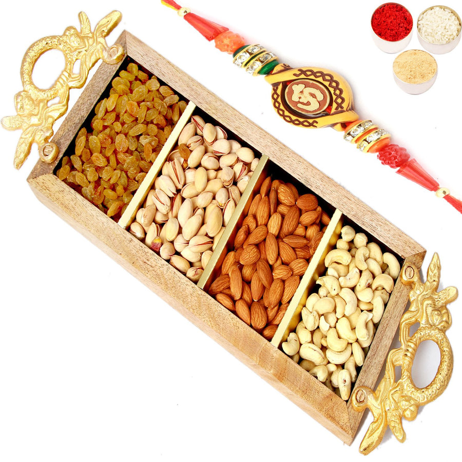 Rakhi Gifts For Brother Rakhi Dryfruits- Golden Handle Wooden Dryfruit Tray with Om Rakhi