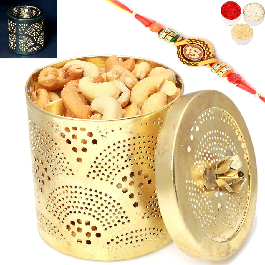 Rakhi Gifts For Brother Rakhi Dryfruits-Golden Roasted Cashews Jar with Om Rakhi