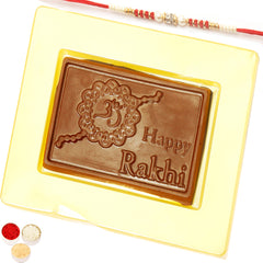 "Rakhi Chocolates- ""Happy Rakhi"" Message Chocolate Bar Small Red Pearl Rakhi"