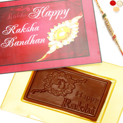 Rakhi Chocolates-Happy Rakhi Pink Chocolate Box with Diamond Rakhi