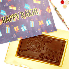Rakhi Chocolates-Happy Rakhi Purple Chocolate Box with Diamond Rakhi