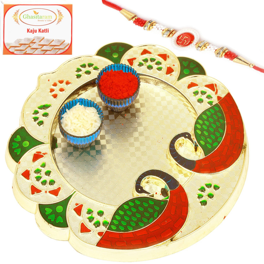 Pooja Thali with Om Rakhi and 400 G Kaju katli