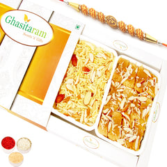 Rakhi Sweets- Mysore Pak and Namkeen Hamper Om Rakhi