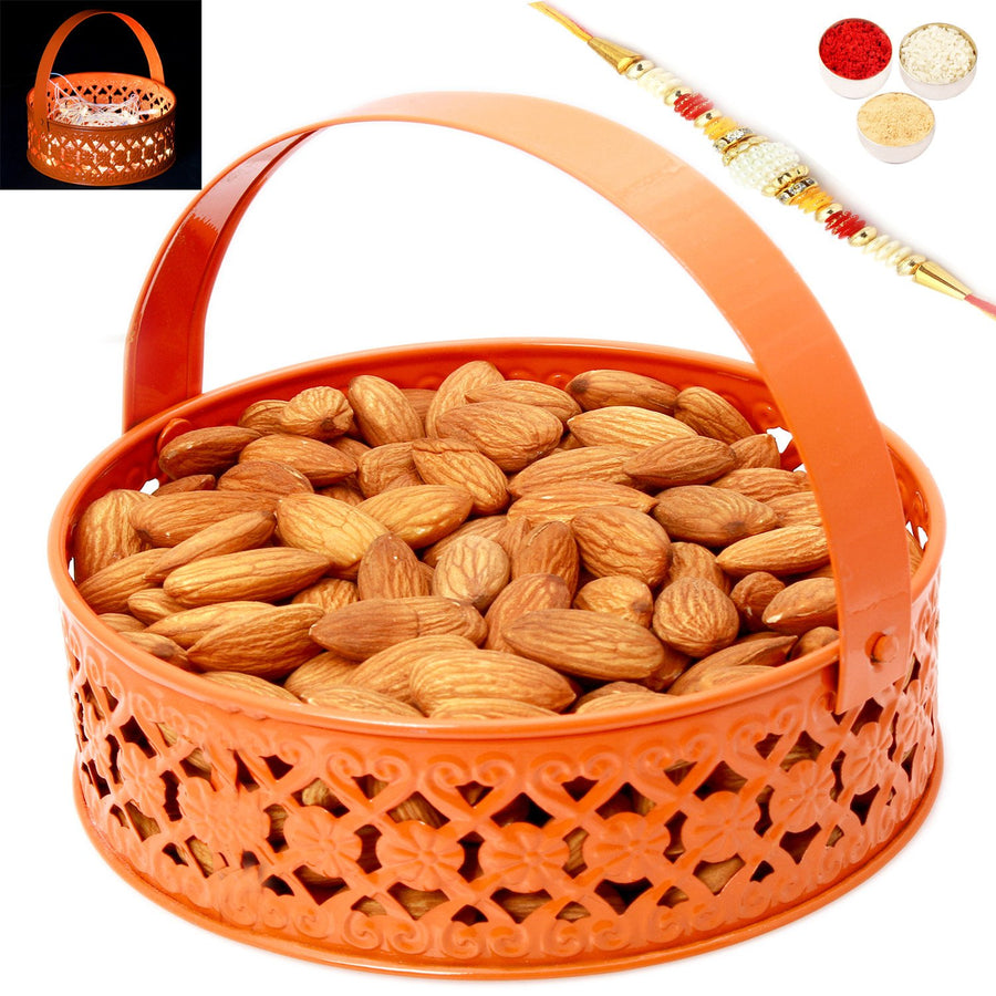Rakhi Gifts For Brother Rakhi Dryfruits-Orange Metal Light Almonds Basket with Pearl Rakhi