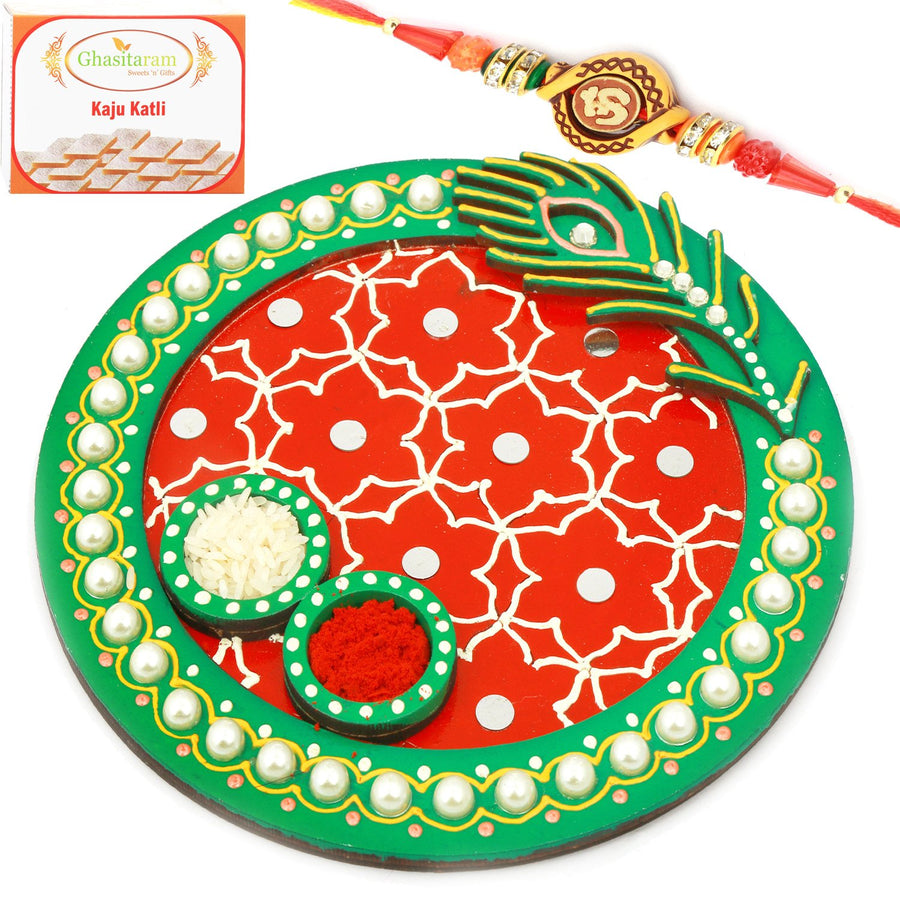 Pooja Thali with Om Rakhi and 200 G Kaju katli