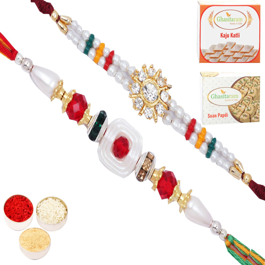 Rakhi Set  with 200 gms of Kaju katli and  200 gms of Soan Papdi