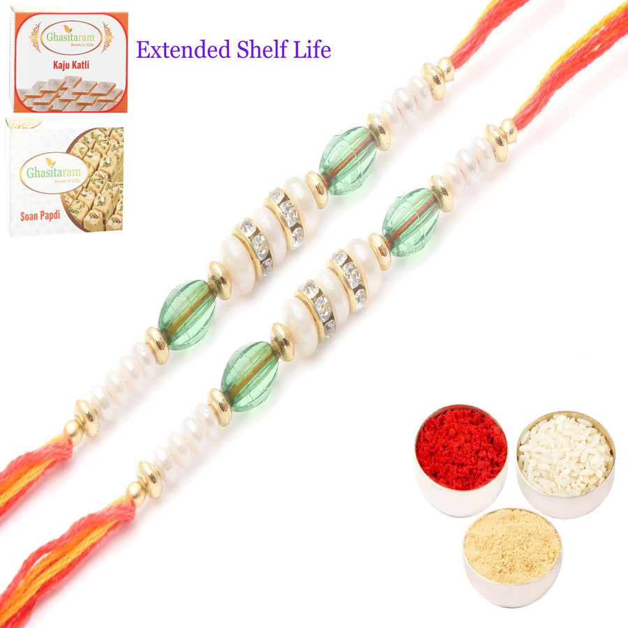 Set of 2 Rakhi with 200 gms of Kaju katli and 200 gms of Soan Papdi