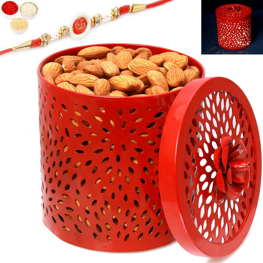 Rakhi Gifts For Brother Rakhi Dryfruits-Red Almonds Light Jar with Om Swastik Rakhi