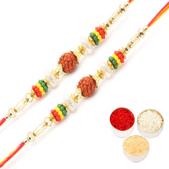 Rakhi for Brother Rakhis Online -Set of 2 6087- Rudraksh  Rakhi