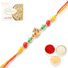 Rakhis Online- 6013  Rakhi Thread with 200 gms of Soan Papdi