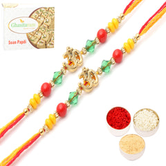 Rakhis Online- Set of 2 6013  Rakhi Thread with 200 gms of Soan Papdi