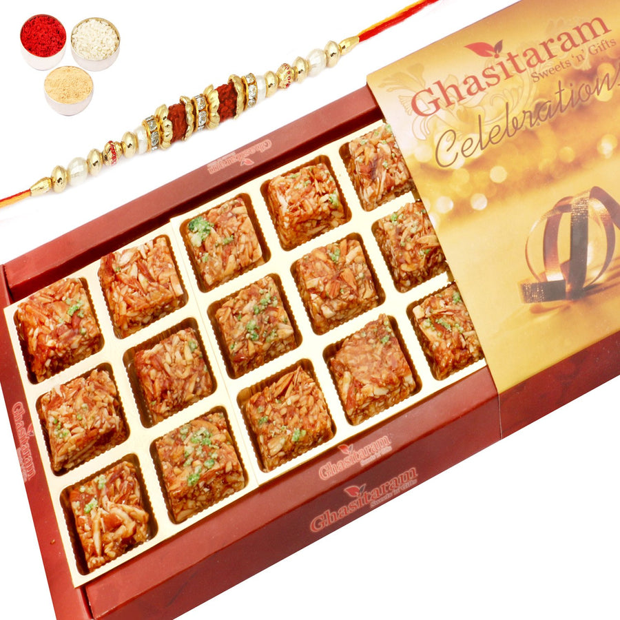 Rakhi Sweets- Sugarfree Roasted Almond Delight 18 pcs with Rudraksh Rakhi
