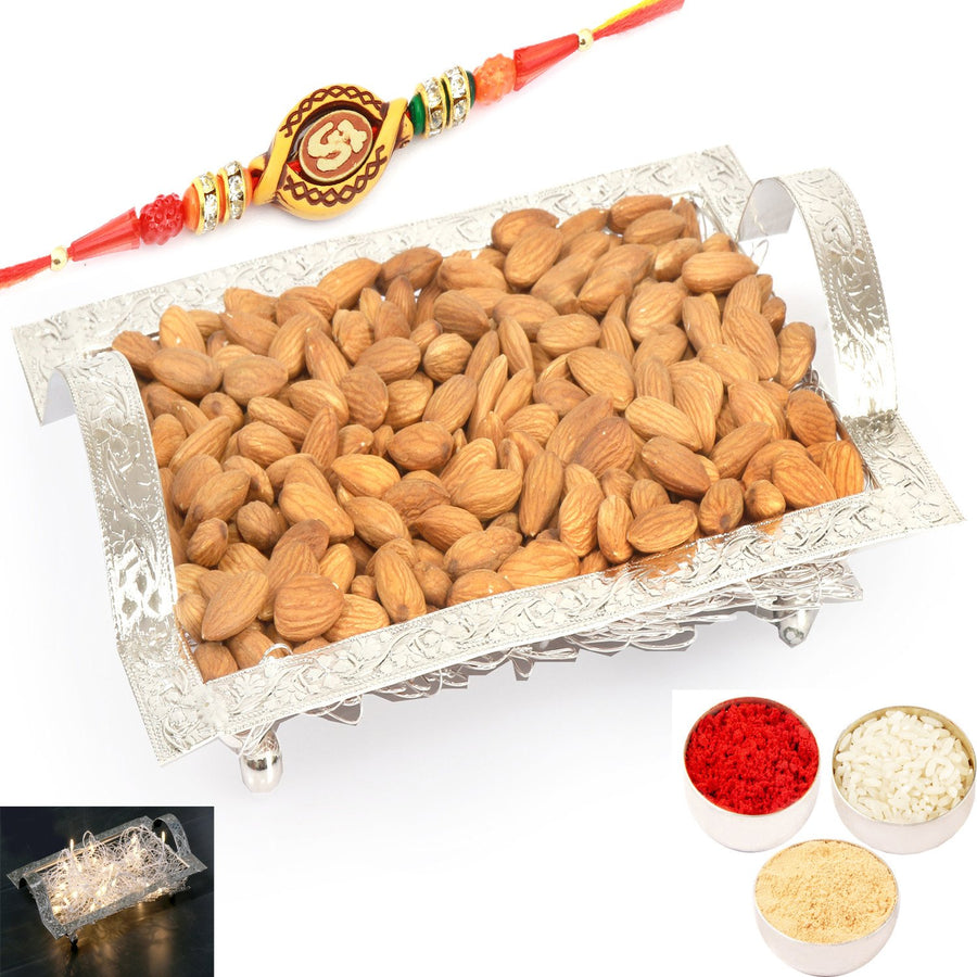 Rakhi Gifts For Brother Rakhi Dryfruits- Silver Mesh  Almonds Tray with Om Rakhi