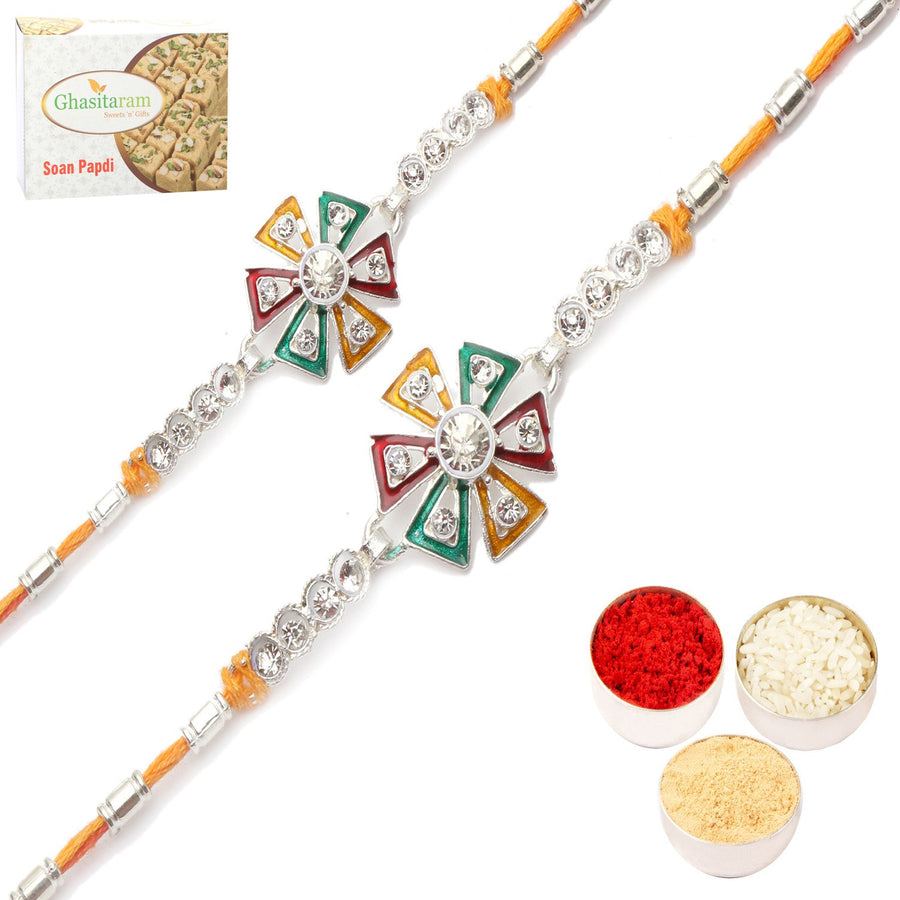 Set of 2 Rakhis with 400 gms of Soan Papdi