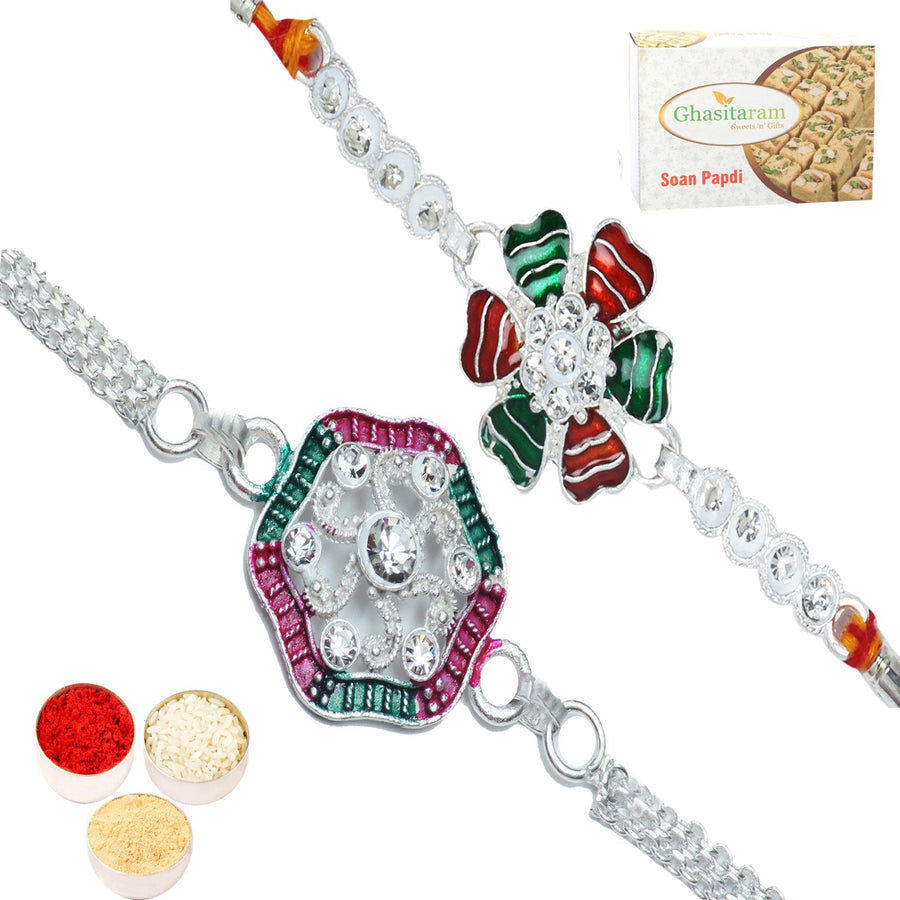 Rakhi Set  with 200 gms of Soan Papdi