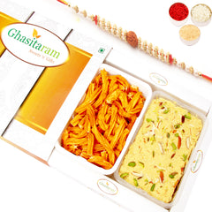 Rakhi Sweets- Soan Papdi and Chakli Hamper with Rudraksh Rakhi