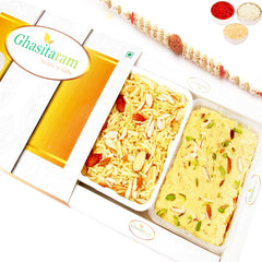 Rakhi Sweets- Soan Papdi and Namkeen Hamper with Rudraksh Rakhi