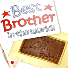 Rakhi Chocolates- World's Best Brother Chocolate Box with Pearl Rakhi