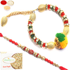 Rakhis Online- My Guiding Angel Bhaiya Bhabhi rakhi with  200 gms of Soan Papdi