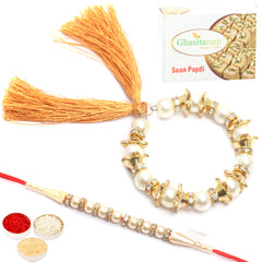 Rakhis Online- Pearls of Love Bhaiya Bhabhirakhi with  200 gms of Soan Papdi