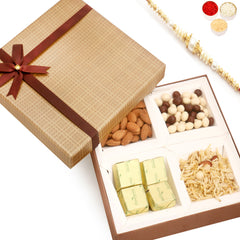 Rakhi Gifts For Brother Rakhi Hampers -Brown Checks Almonds, Namkeen, Nutties and Chocolate Box with Pearl Rakhi