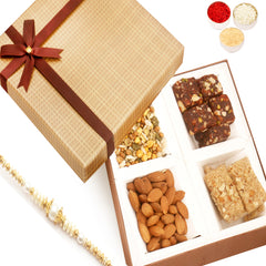 Rakhi Gifts For Brother Rakhi Healthy Hampers -Brown Checks Almonds, Roasted Protein Namkeen, Granola Bars and Dates Figs Bites Box with Pearl Rakhi