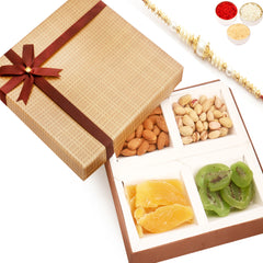 Rakhi Gifts For Brother Rakhi Dryfruits- Brown Checks Almonds, Pistachios, Dried Kiwi and Mango Box  with Pearl Rakhi