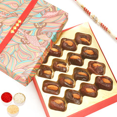 Rakhi Gifts for Brothers Rakhi Dryfruits- Pink Print Premium Dates with Almonds Box  with Red Pearl Rakhi