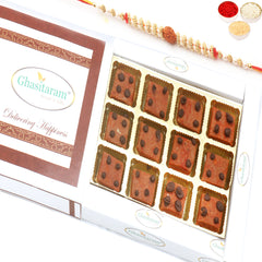 Rakhi Gifts for Brothers Rakhi Sweets- Ghasitaram's Chocochip Mawa Barfi  in White Box with Rudraksh Rakhi