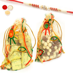 Rakhi Chocolates - Chocolate and Nutties in Net Pouches with Red Pearl Rakhi