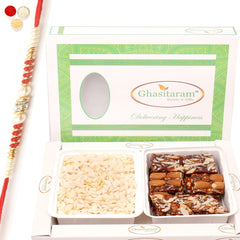 Rakhi Gifts for Brothers Healthy Hampers-  Diet Chiwda Namkeen with Natural Sugarfree Mix Hamper with Red Pearl Rakhi