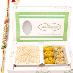 Rakhi Gifts for Brothers Healthy Hampers-  Diet Chiwda Namkeen with  Sugarfree Mawa Peda Hamper with Diamond Rakhi