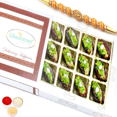 Rakhi Gifts for Brothers Rakhi Sweets- Dryfruit Filled  Dates in White Box with Om Beads Rakhi