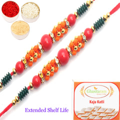 Rakhi for Brother Rakhis Online-Set of 2 - 1525 Fancy Thread Rakhi