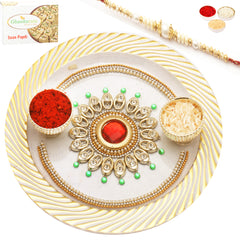 Rakhi Pooja Thalis- Glitter Of Gold Pooja Thali with Pearl Rakhi with 200 gms of Soan Papdi