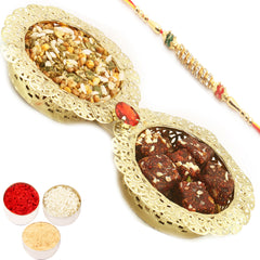 Rakhi Gifts for Brothers Healthy Hampers- Golden 2 Bowl Dates and Figs Bites and Roasted Namkeen Tray with Diamond Rakhi