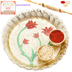 Rakhi Pooja Thalis- Golden Leaves of Love Pooja Thali with Diamond Rakhi  with 200 gms of Kaju katli
