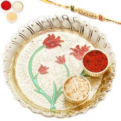 Rakhi Pooja Thalis- Golden Leaves of Love Pooja Thali with Diamond Rakhi