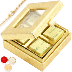 Rakhi Gifts for Brothers Rakhi Chocolates- Golden Small Chocolates  Box with Pearl Rakhi