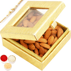 Rakhi Gifts for Brothers Rakhi Dryfruits- Golden Small Almond  Box with Pearl Rakhi