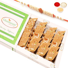 Rakhi Gifts for Brothers Rakhi Sweets-Jaggery (Gud) Kaju Katli 200 gms with Rudraksh Rakhi
