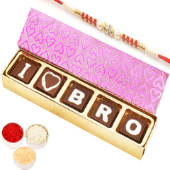 Rakhi Gifts for Brothers Rakhi Chocolates- I Love Bro Chocolates Gift Box  with Red Pearl Rakhi