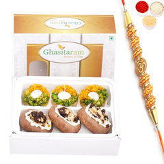 Ghasitaram Gifts Rakhi Gifts for Brother Rakhi Sweets- Assorted Box of Anjeer Basket, Kesar Pista Delight, Choco Boat and Almond Basket  200 gms with Om Beads Rakhi