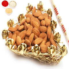 Rakhi Gifts for Brothers Rakhi Dryfruits- Mesh Heart Almonds Tray with Red Pearl Rakhi