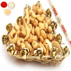 Rakhi Gifts for Brothers Rakhi Dryfruits- Mesh Heart Roasted Cashew Tray with Red Pearl Rakhi